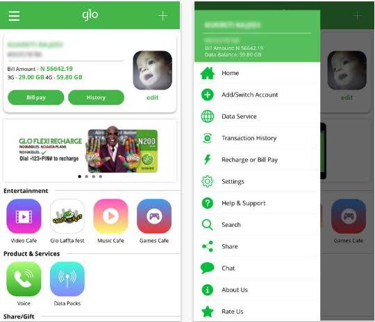 How to Recharge, Borrow Airtime/Data, Pay your Bills etc on the Glo Café app 1